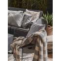 Robiony na drutach pled koc Inge120x170 szaro-biały w paski
