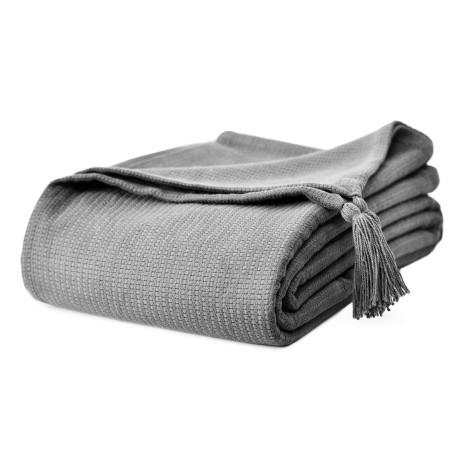 Piękna bawełniana narzuta na łóżko Olga 200x220 z chwostami - szara