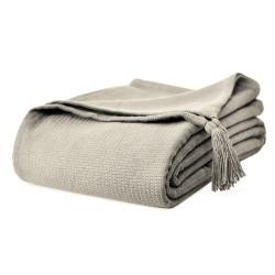 Piękna bawełniana narzuta na łóżko Olga 200x220 z chwostami - beżowa