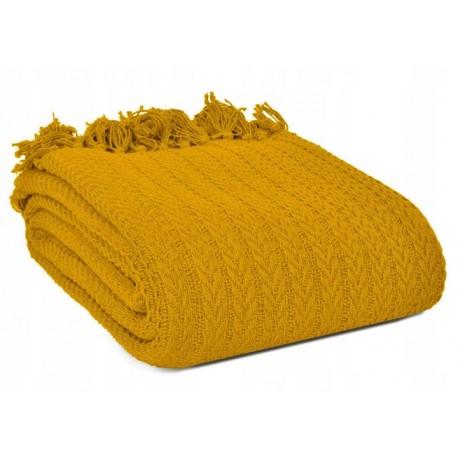 Musztardowy pled koc warkocz Greta 150x200 100% bawełna hand made