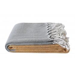 Pled koc bawełniany Karen 150x200 z frędzlami - musztardowy