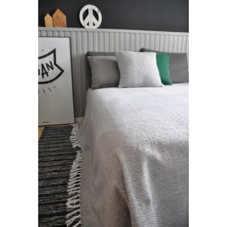 Bawełniana narzuta na łóżko Klara 200x220 - szarobiała