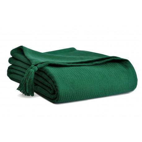 Piękna bawełniana narzuta na łóżko Olga 200x220 z chwostami - butelkowa zieleń